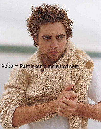 вязаный мужской пуловер спицами