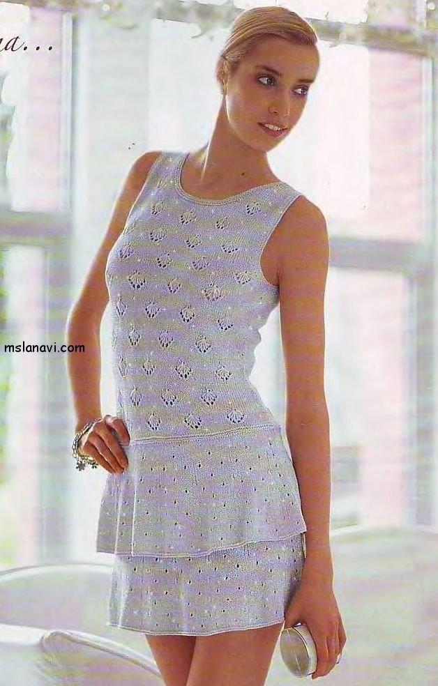 летнее платье спицами