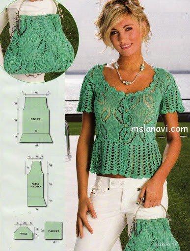 ажурная блуза и сумочка описание