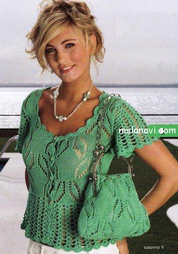 ажурная блуза и сумочка