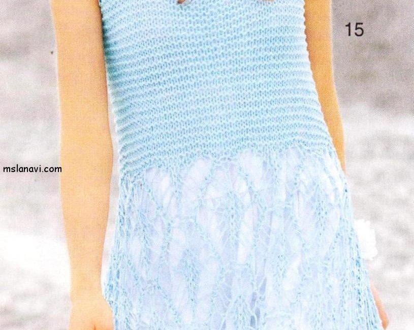 воздушное ажурное платье спицами