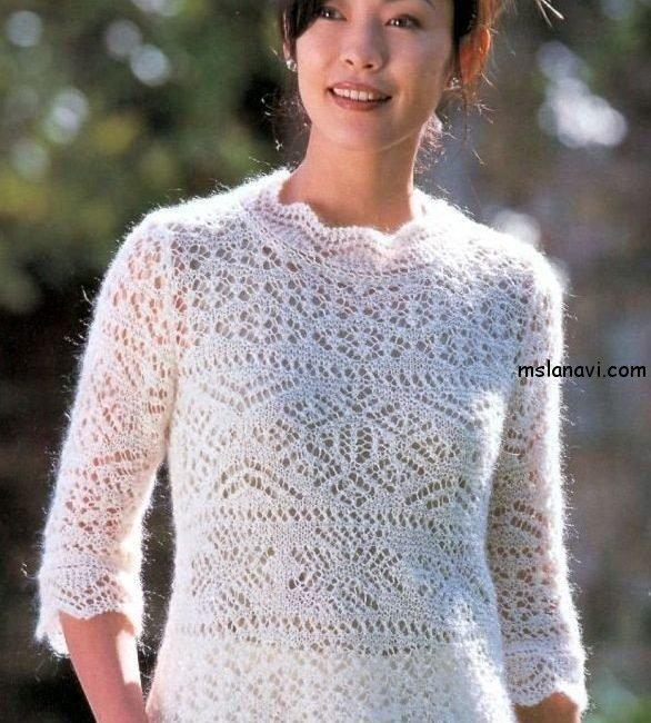 ажурный пуловер спицами со схемами