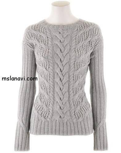ажурный пуловер спицами с описанием