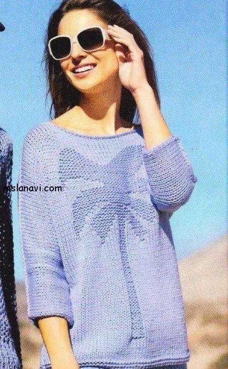 вязаный пуловер с пальмой описание и схема