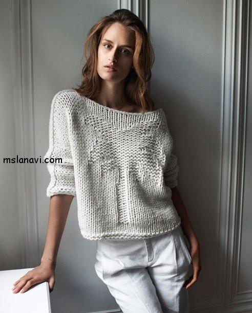 вязаный пуловер с пальмой описание