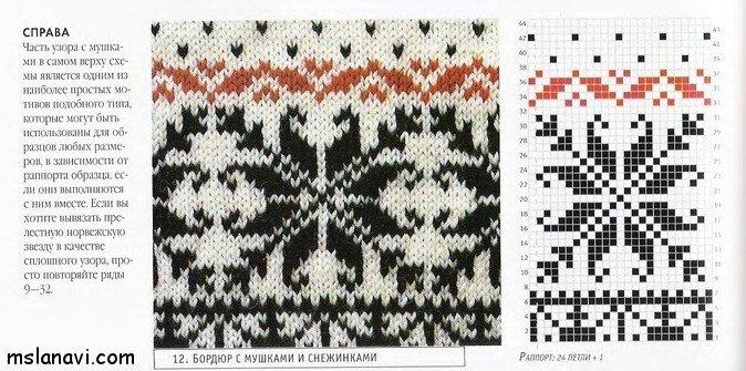 жаккардовый пуловер узоры и схемы
