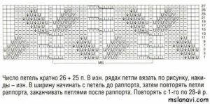 ажурный узор спицами схема 60