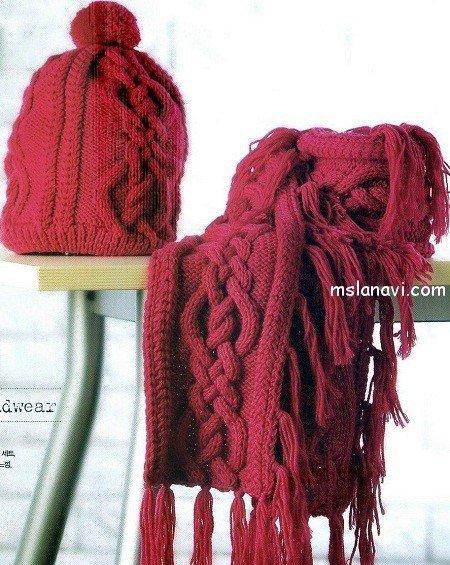 вязаные шапка и шарф