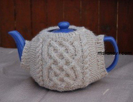 вязаная грелка +на чайник с аранами