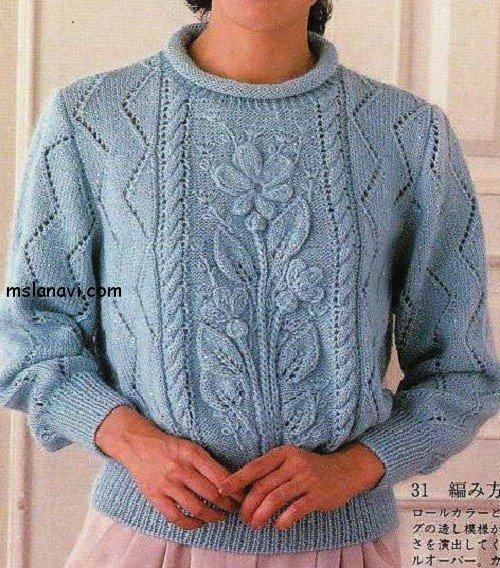 Вязаный пуловер с цветами