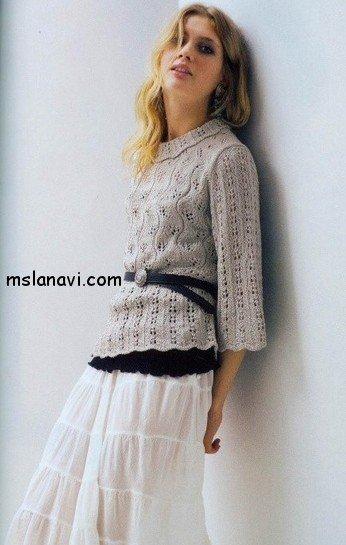 вязаный пуловер в ажурах