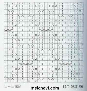 Рельефный узор спицами схема 74