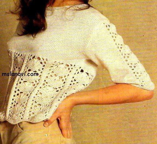 Летний пуловер с ажурным узором