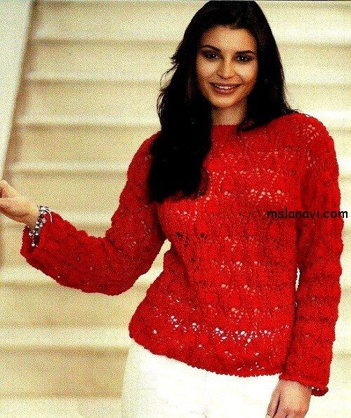 Ажурный пуловер спицами с узором ананасы
