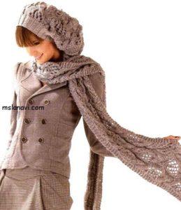 вязаный комплект берет и шарф