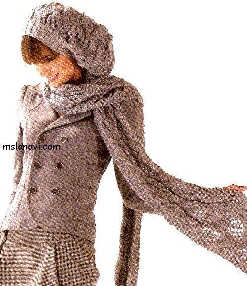 Вязаный комплект: шапка и шарф в красивых ажурах