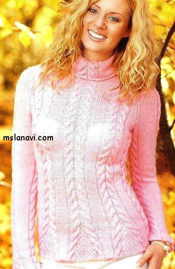Вязаный пуловер спицами с описанием