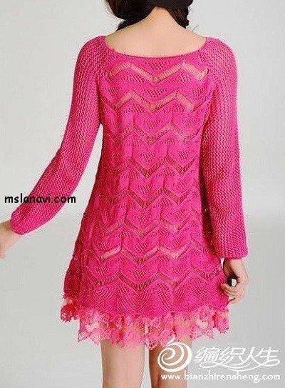 вязаное платье спицами схема