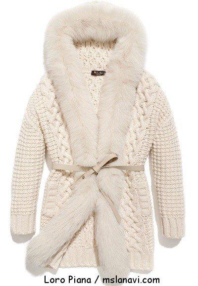 Вязаное женское пальто спицами от Loro Piana
