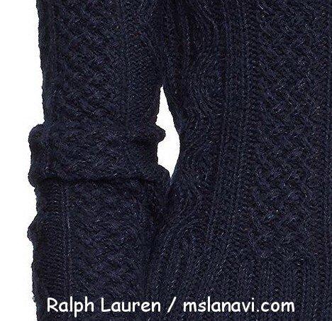 Вязаный пуловер спицами схемы Ralph Lauren перед
