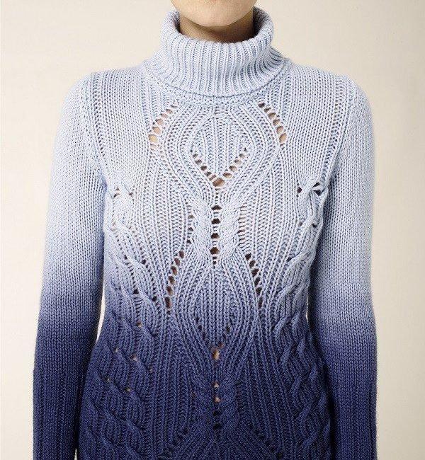 Модный вязаный свитер схемы от Les Copains