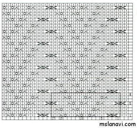 Японский ажурный узор спицами №147