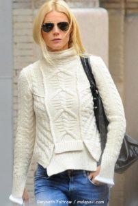 Вязаный свитер спицами на Гвинет Пэлтроу