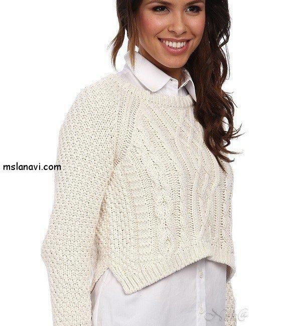 Короткий свитер спицами от 525 America