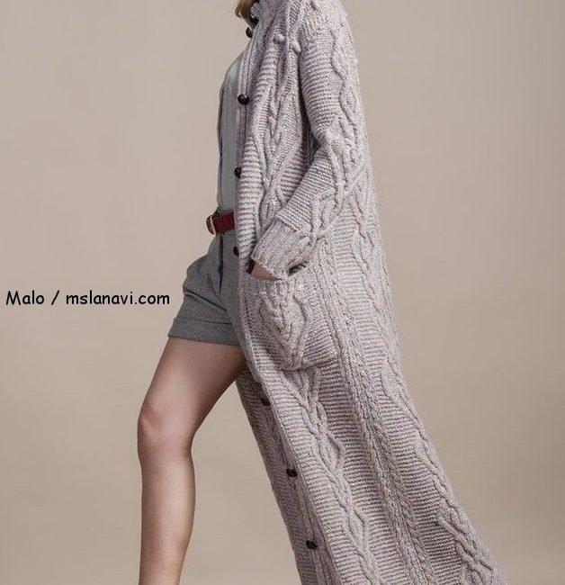 пальто спицами схема