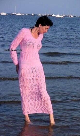 Ажурное платье спицами с описанием