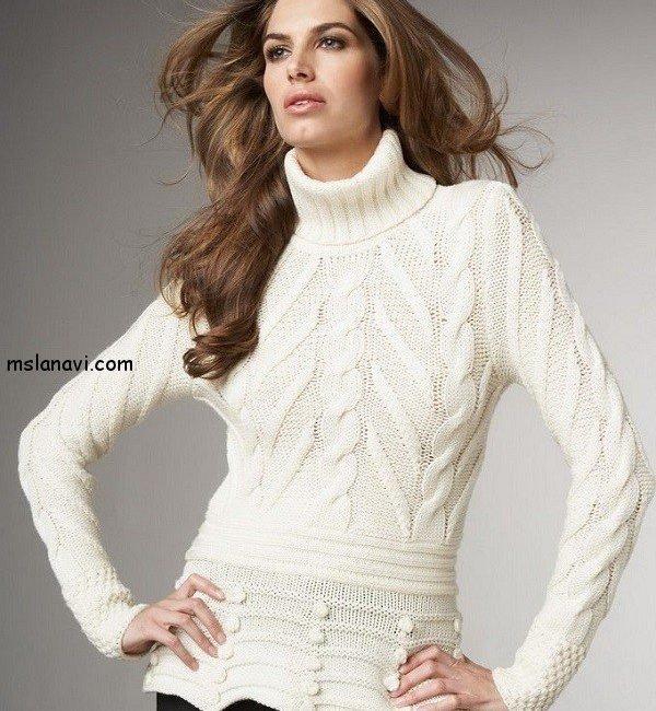 белый свитер спицами схемы