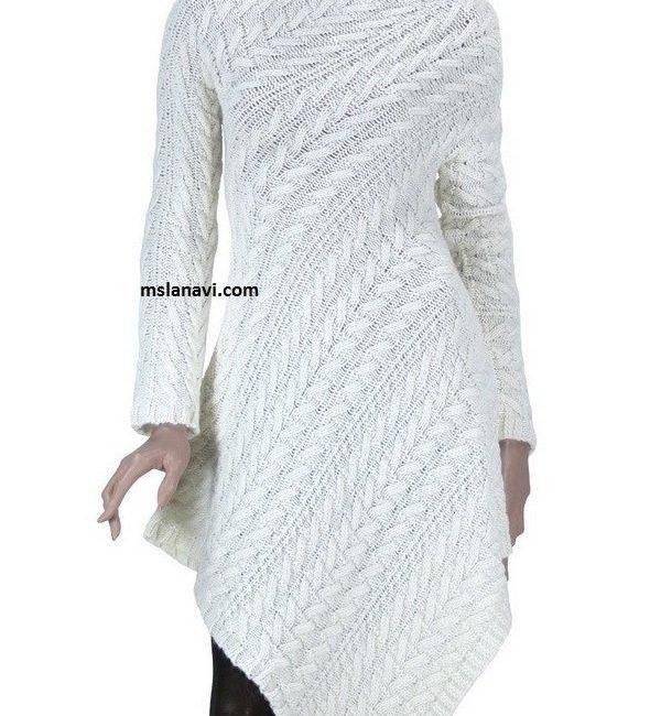 Оригинальное вязаное платье по диагонали