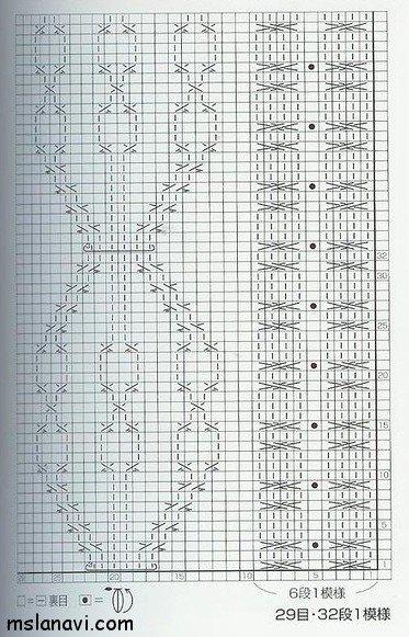 Рельефный узор для вязания спицами №116