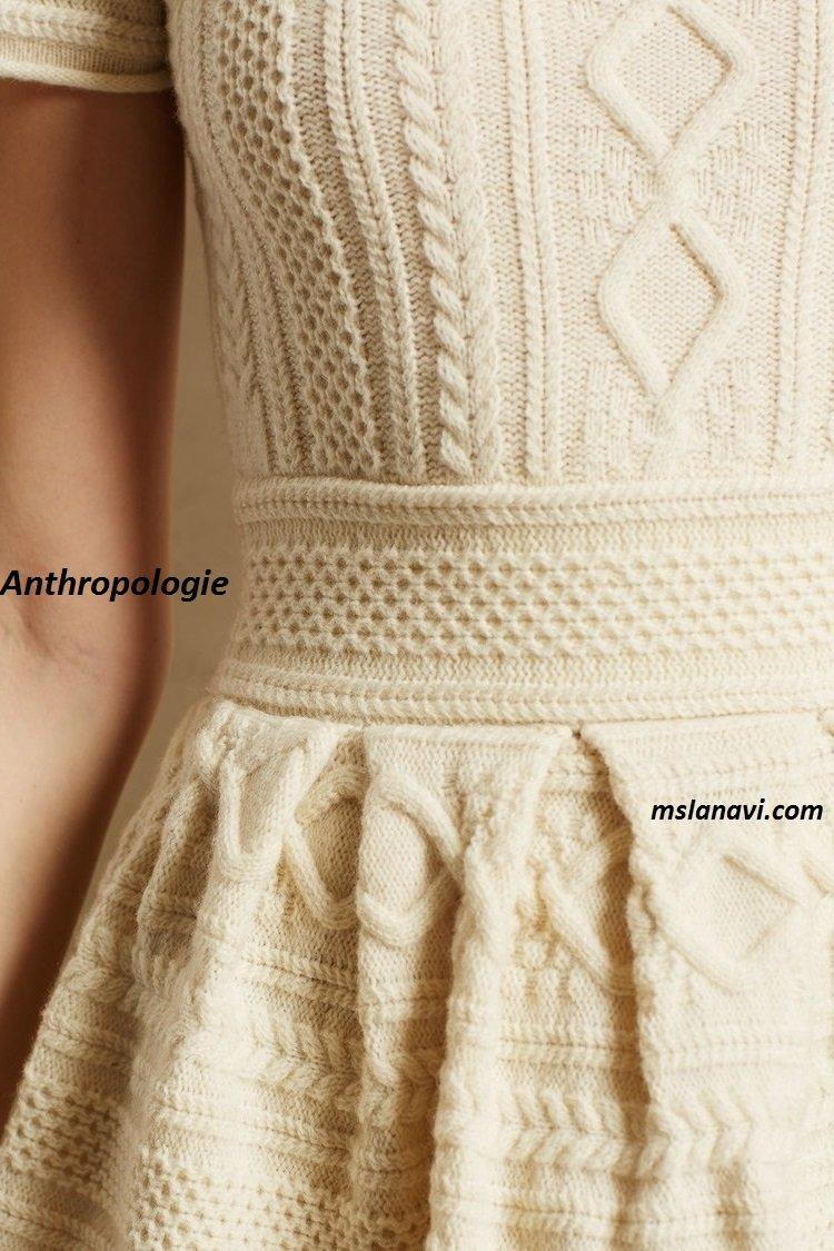 Вязаное платье для девушки спицами от Anthropologie