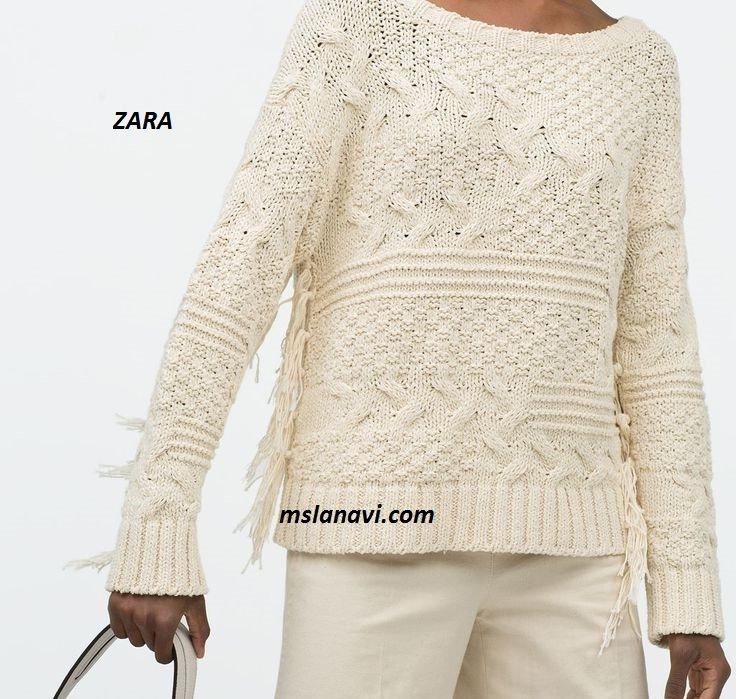 Вязаный модный свитер спицами от