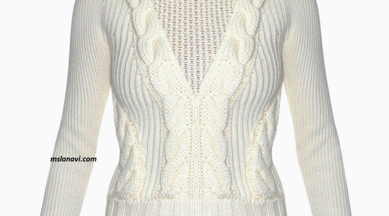 вязаный модный свитер спицами