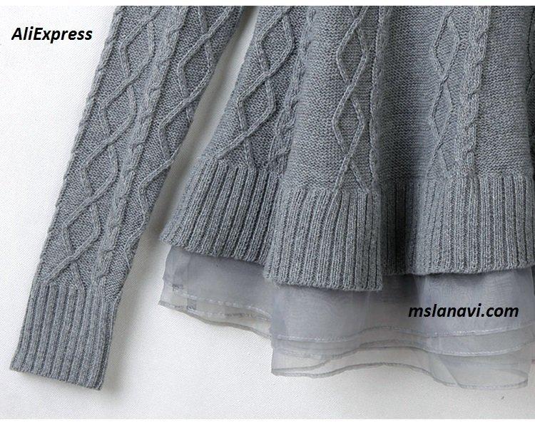 Вязаная туника спицами с Aliexpress подол