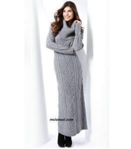длинное вязаное платье, вязаное платье с аранами, вязаное платье спицами