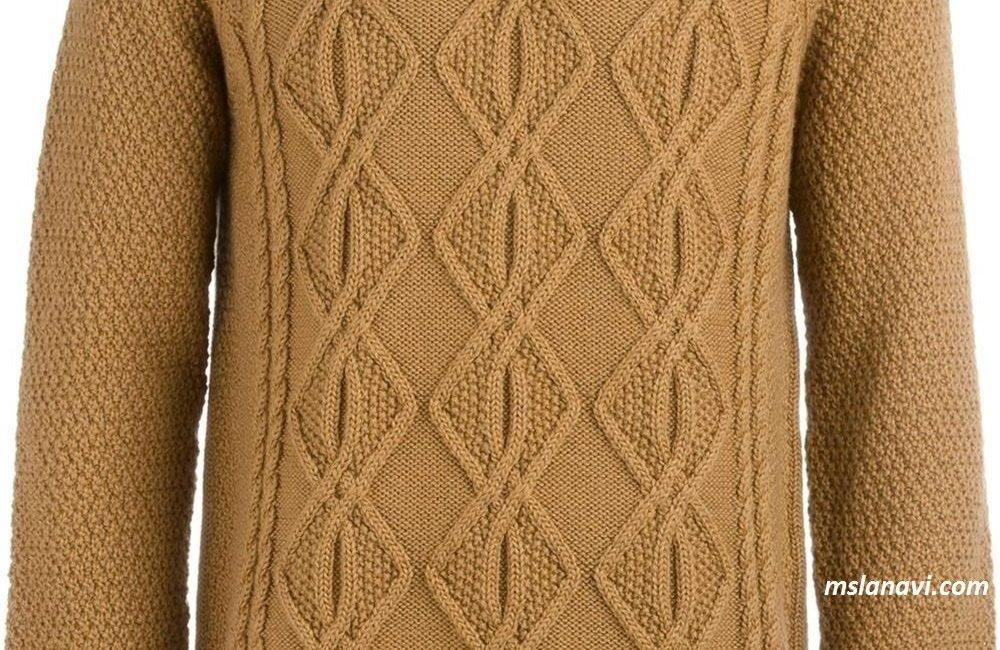 Мужской вязаный свитер спицами