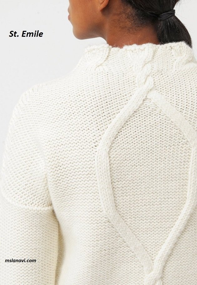 Белый пуловер спицами St. Emile