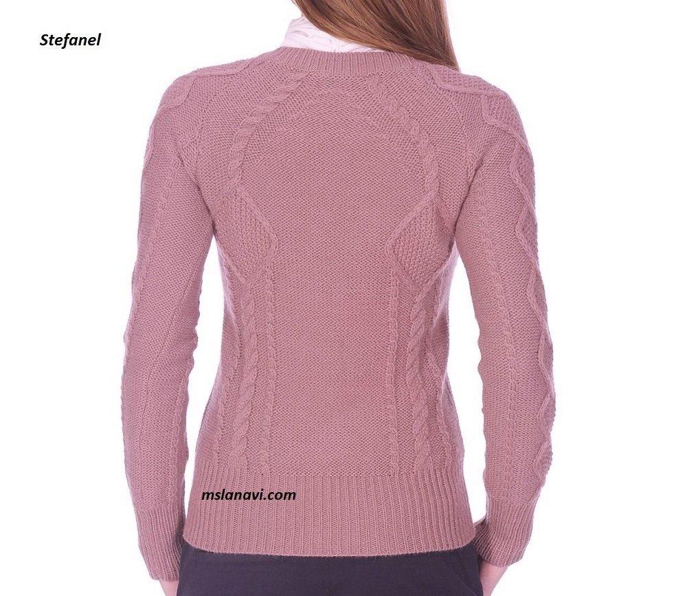 Пуловер спицами со схемой