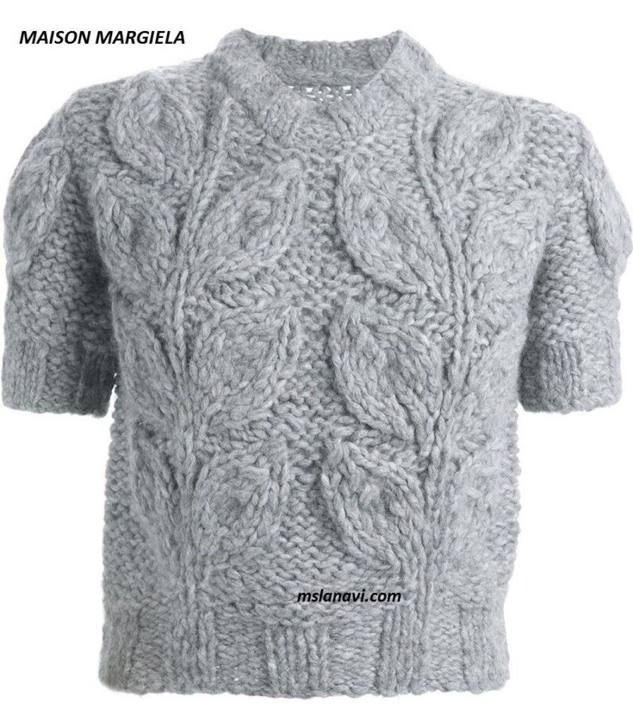 Вязаные пуловеры с крупными листьями