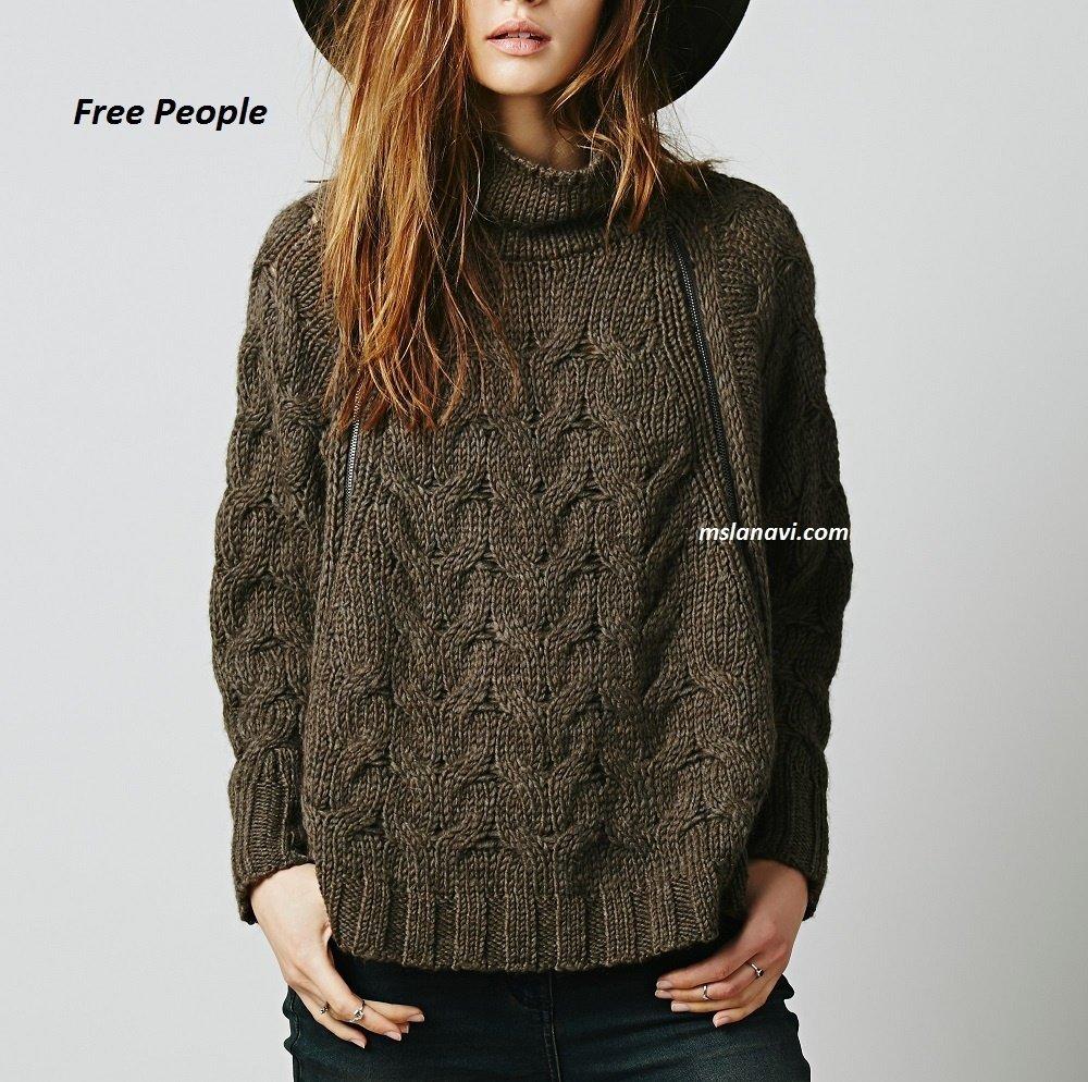 Пончо-свитер спицами