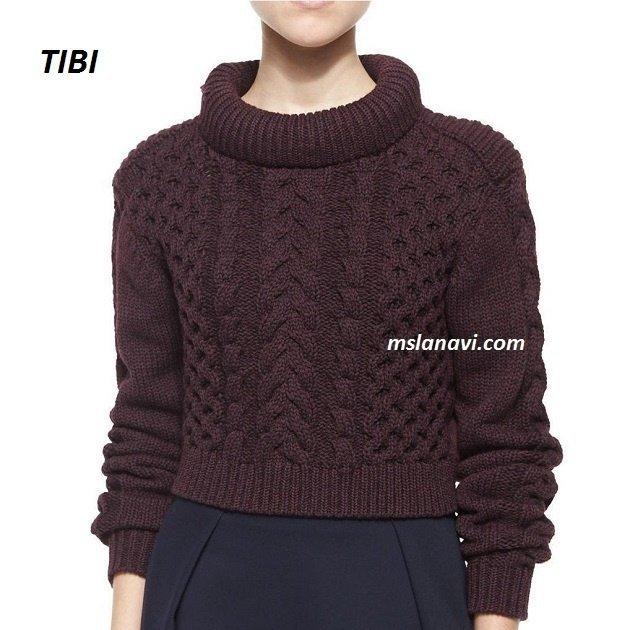 Короткий вязаный свитер от TIBI