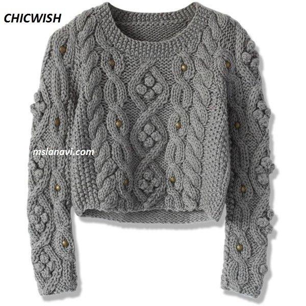 Короткий свитер спицами