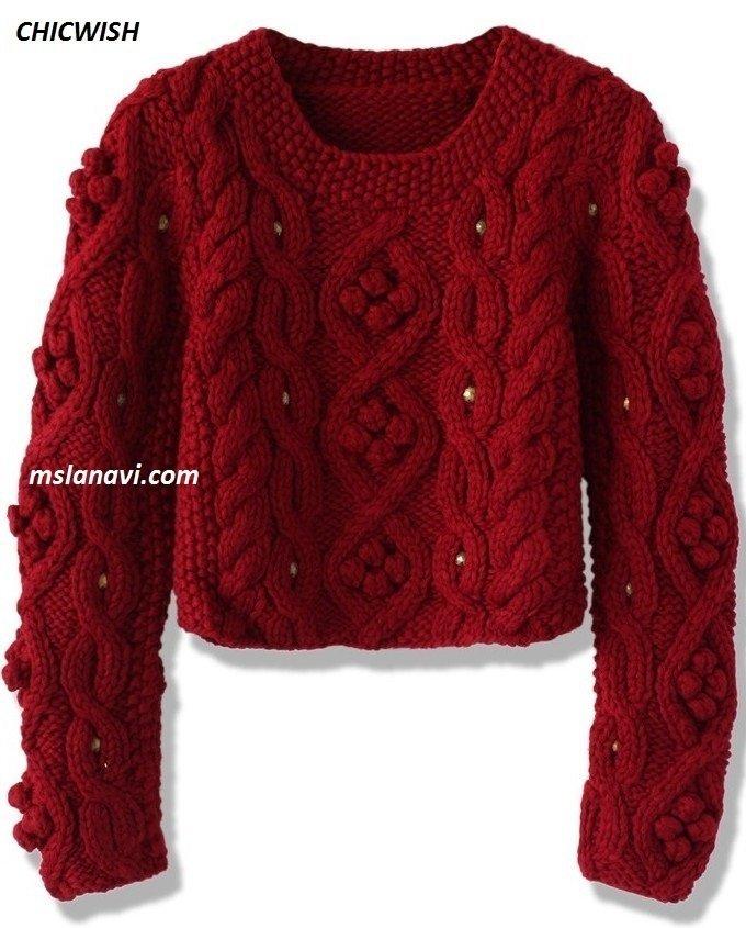короткий свитер спицами из CHICWISH