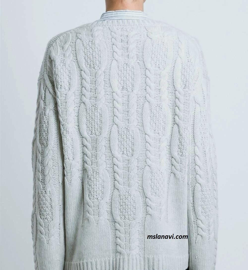 Вязаный свитер с выразительными аранами