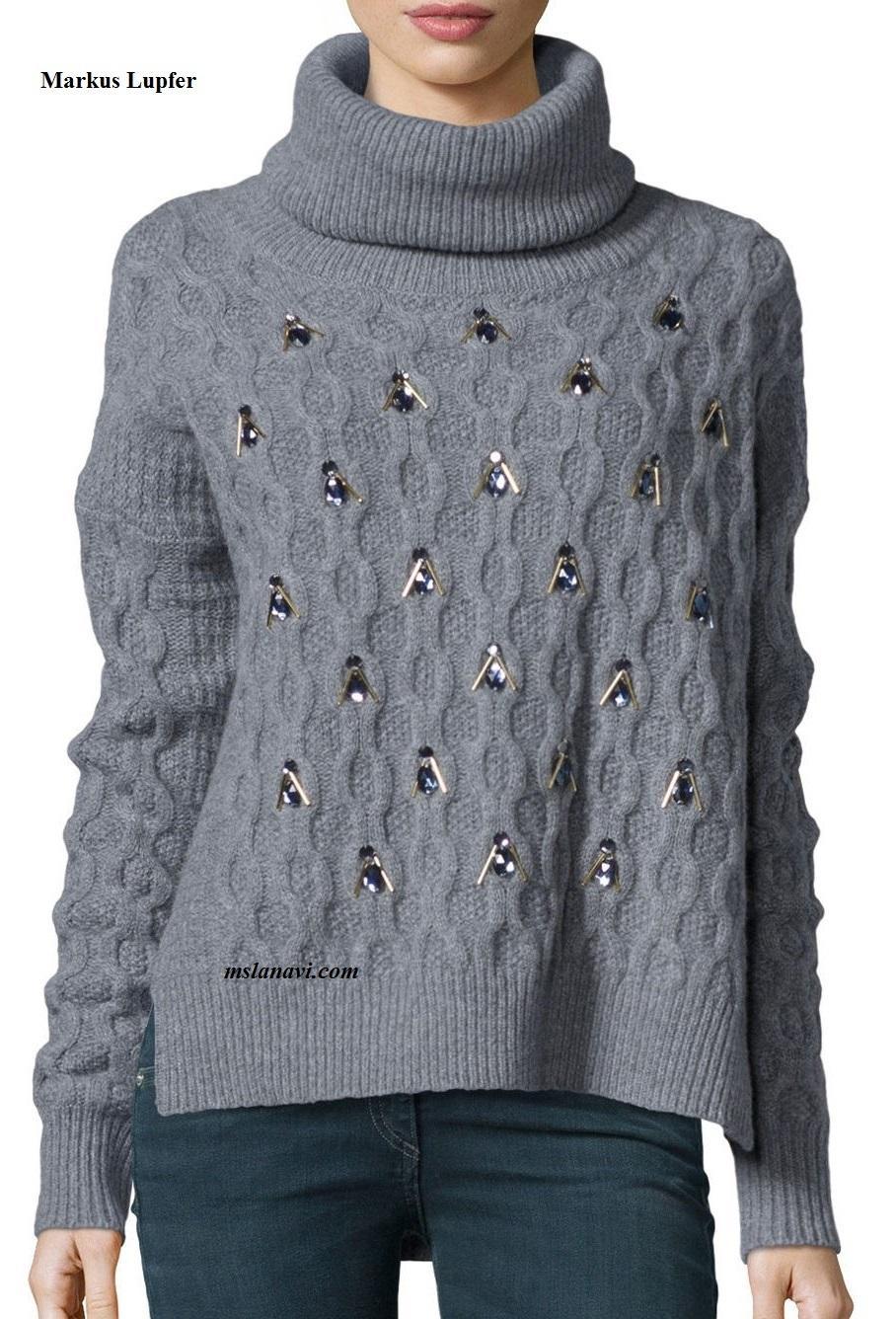 Вязаный свитер спицами от Markus Lupfer