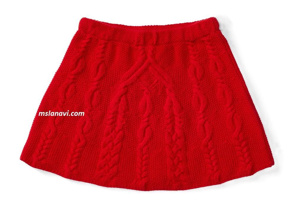 Вязаная детская юбка аранами