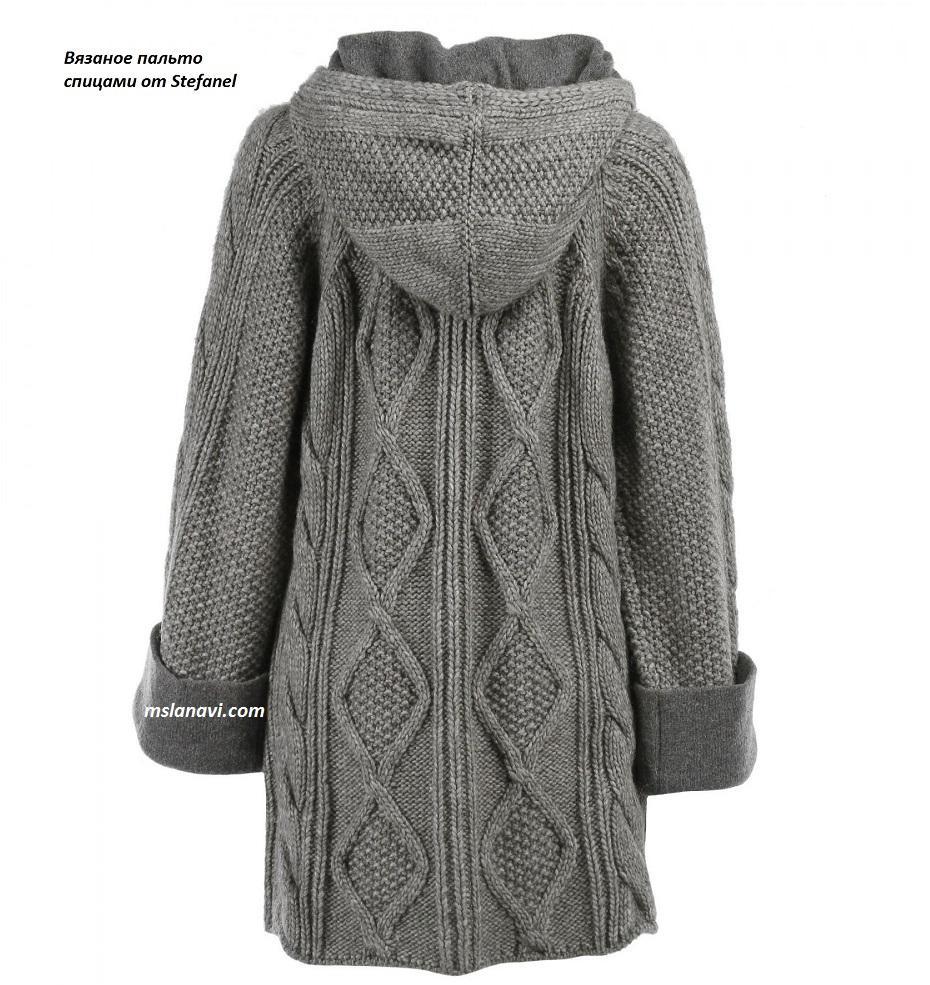 Вязаное пальто спицами от Stefanel